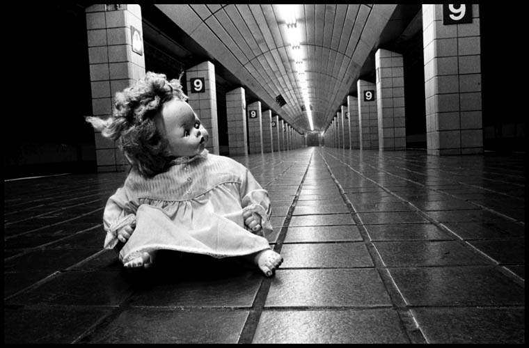 doll on subway platform