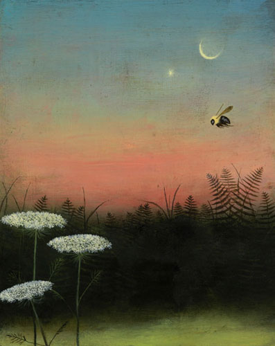bee with moon in background