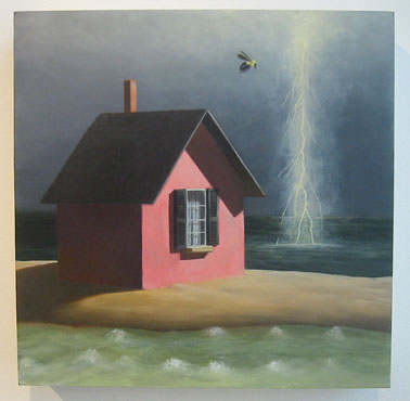 house with ocean storm and bee