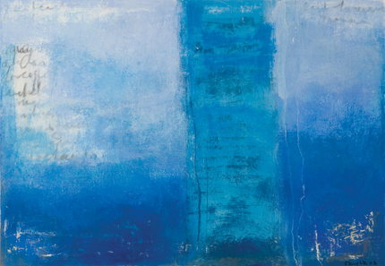 Blue Wall from Sousse, acrylic on paper