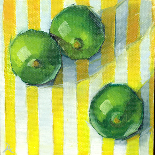 """Limes on Yellow Stripes"" 6"" x 6"" Oil on canvas"