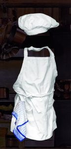 chef's torque, apron and towel