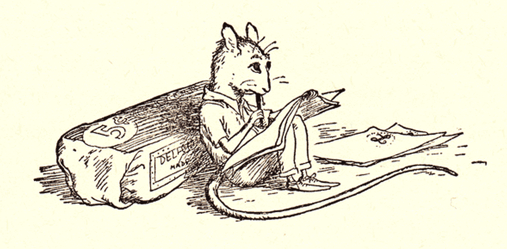 mouse with book