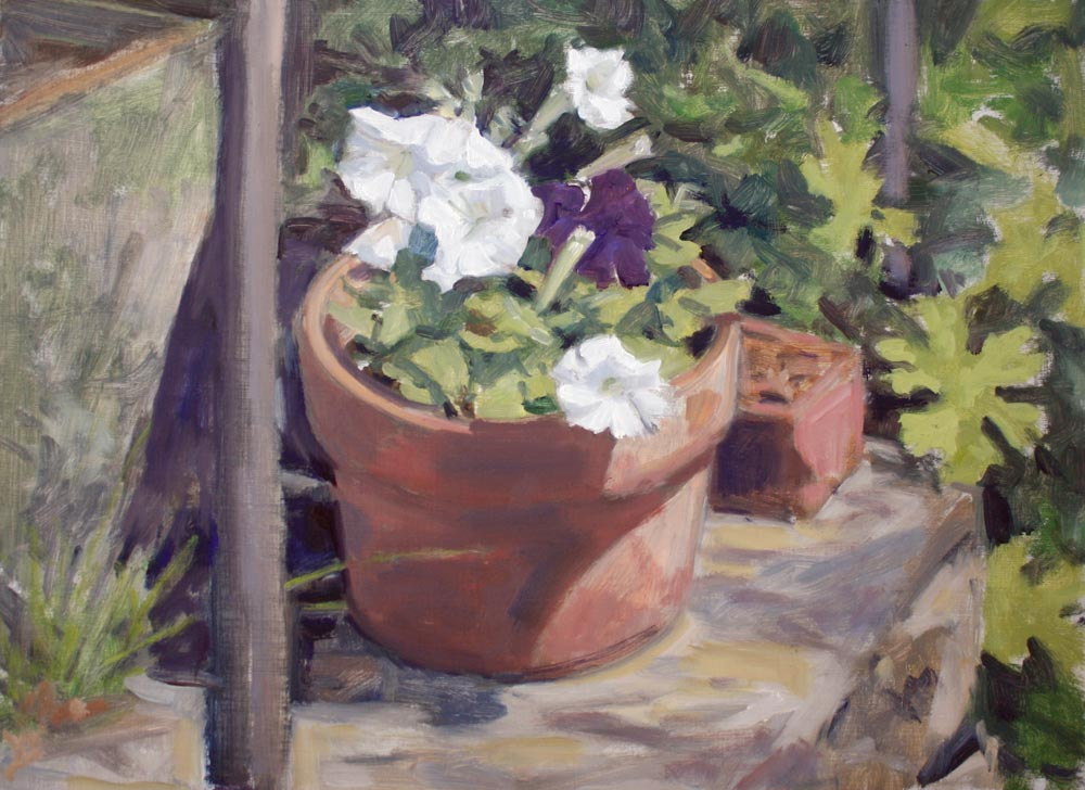 painting of petunias by Crozier