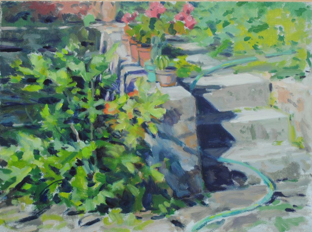 Painting of garden steps.