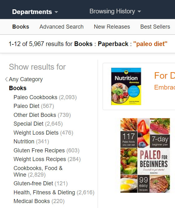 search for paleo diet on Internet