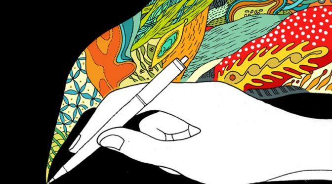 illustration of monotone hand creating colorful artwork