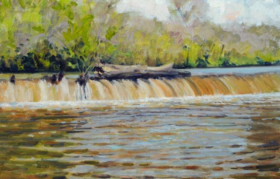 painting of Woolen Mills dam