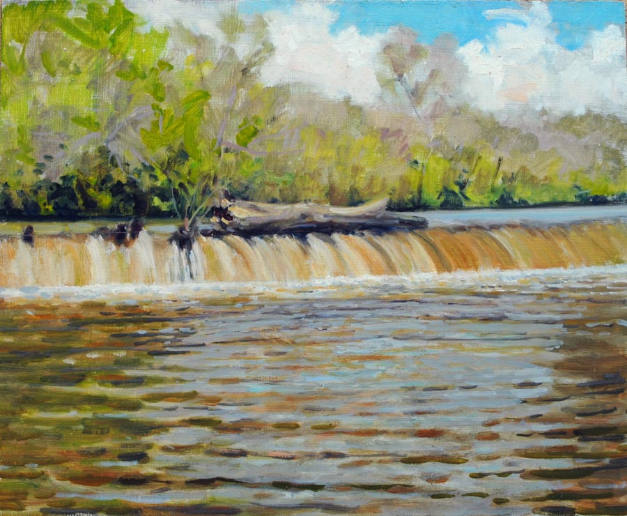 painting of Woolen Mills dam