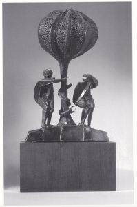 metal sculpture with Adam and Eve