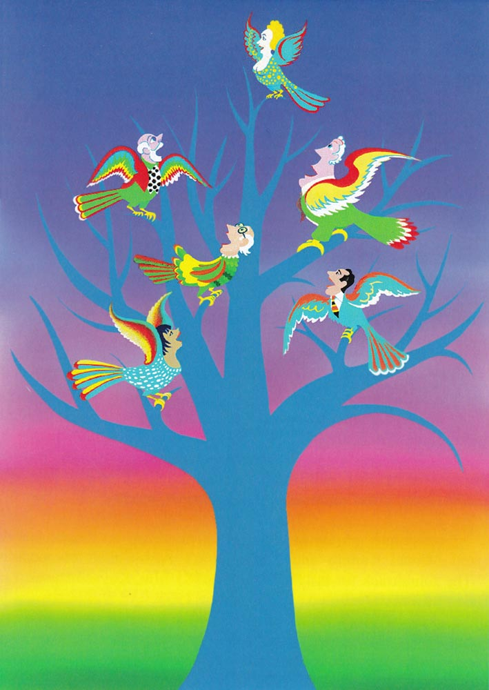 Singing birds with human heads in tree