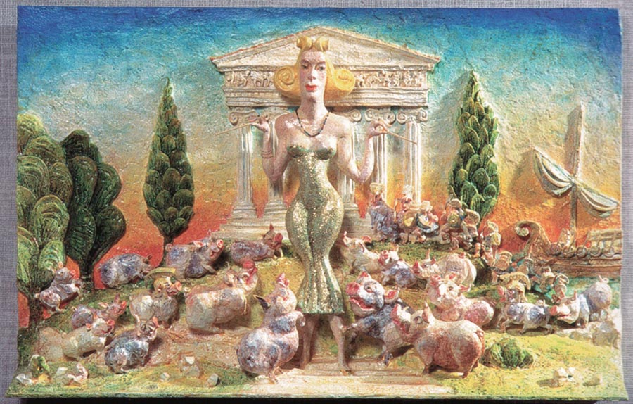 Goddess Circe surrounded by pigs