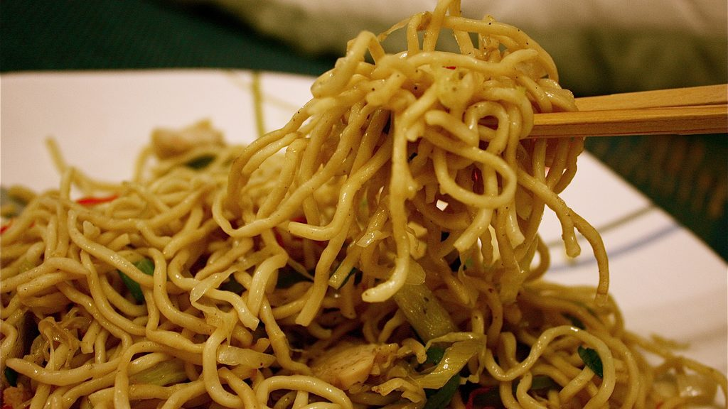 Plate of noodles with chopsticks