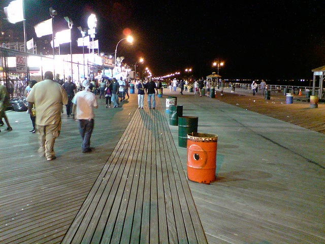 beach boardwalk at night