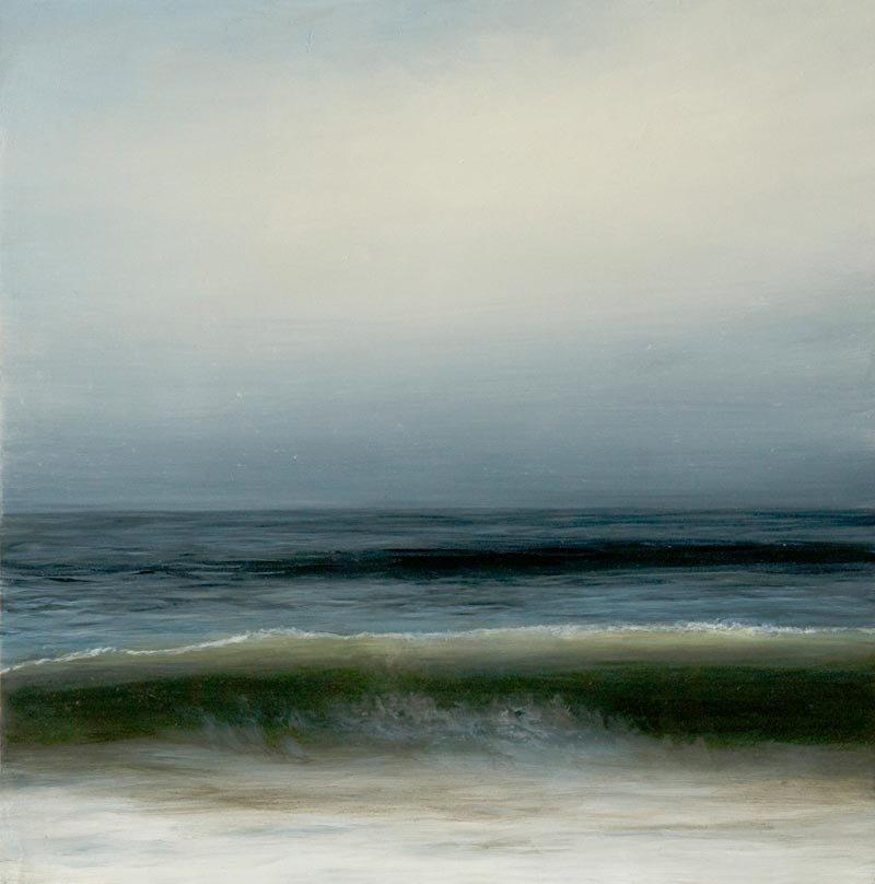 ocean surf with overcast sky