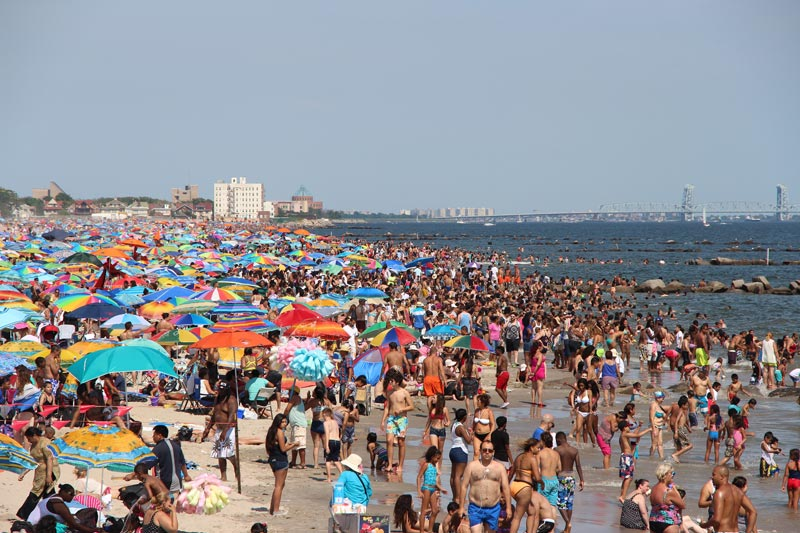 Wildly crowded beach