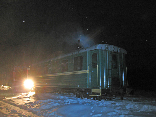 Side view of a night train