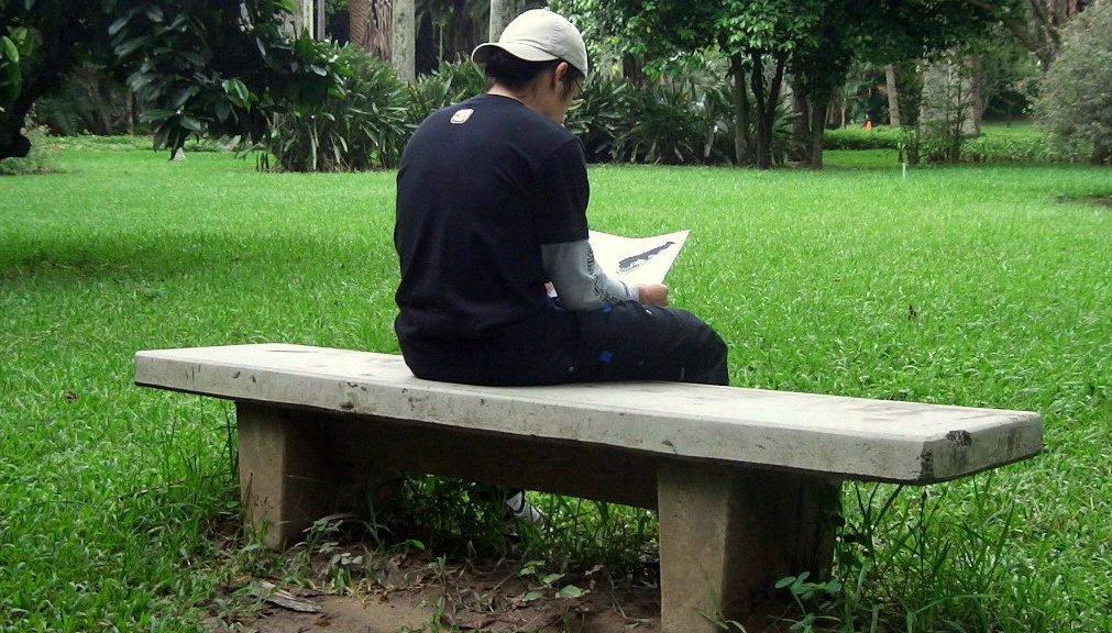 Boy reading on bench