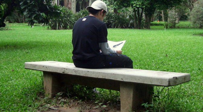 Boy reading on bench