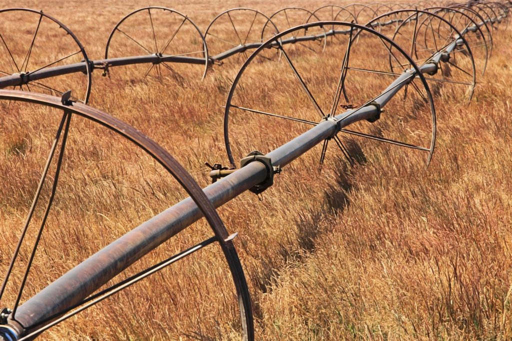 Irrigation equipment in brown field