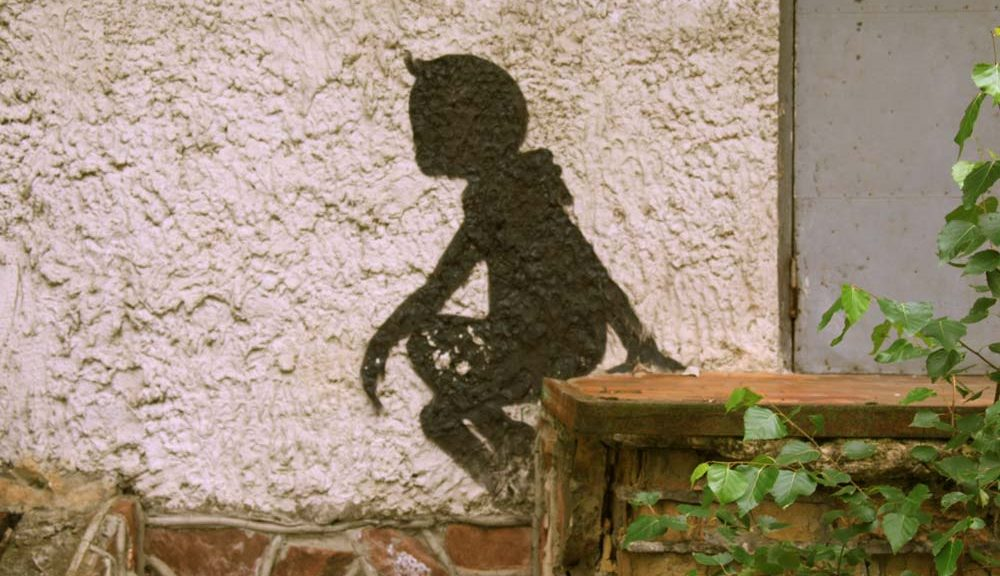 painted silhouette of child at Chernobyl