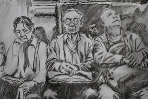 Sketch of people sitting on the MTR