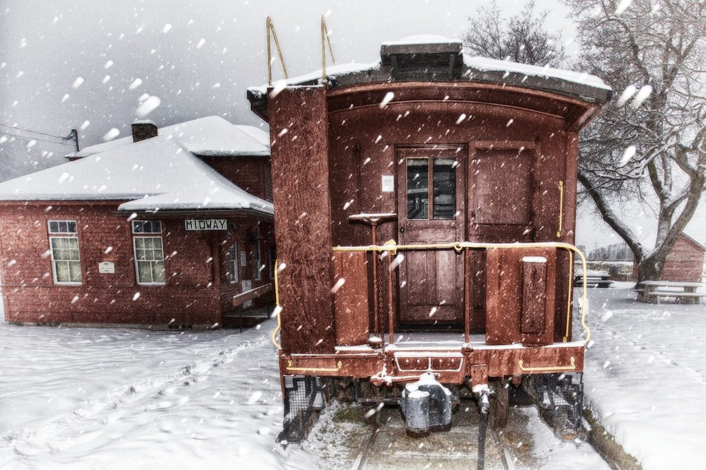 Train caboose in the snow