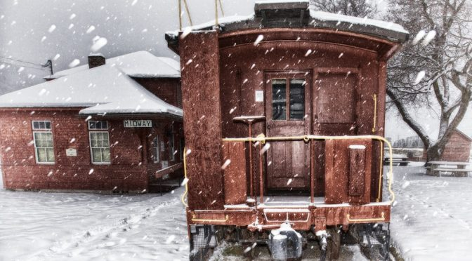 Train caboose in the snow