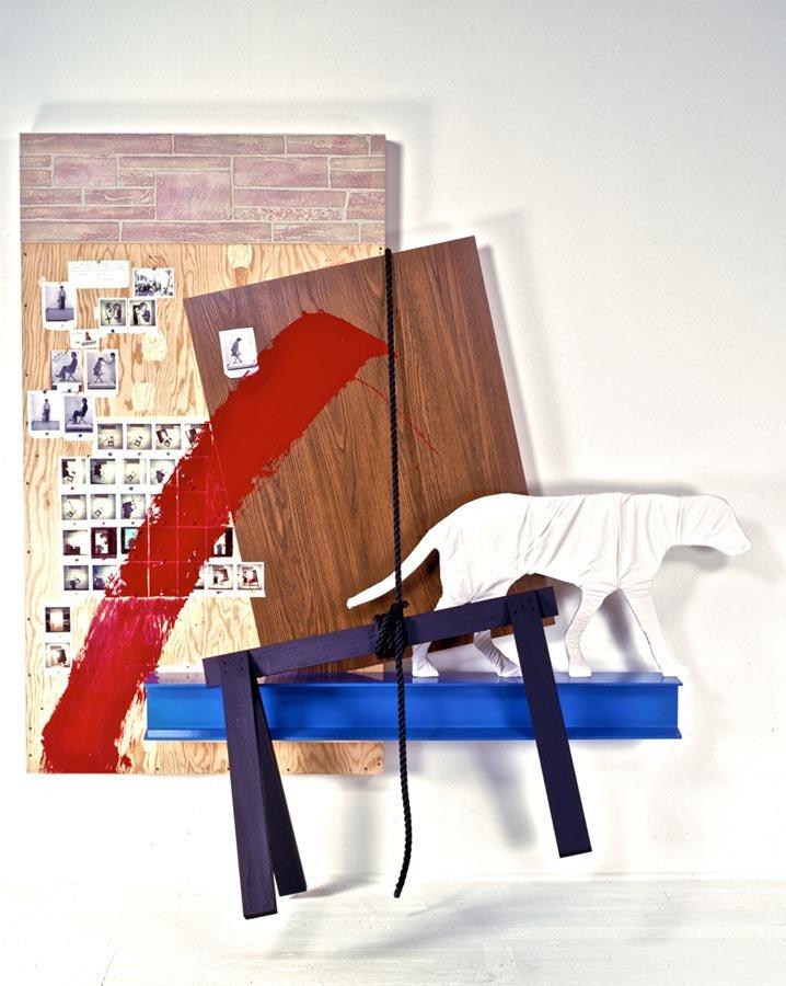 Dialogue, photos, paint, wood, 10'x7'