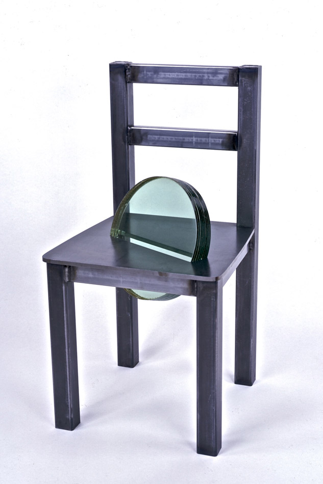 Glass Chair steel, glass, lead, 35""