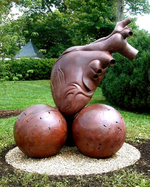Healing Heart on 3 spheres, bronze, 5'x4'x4,' 2006