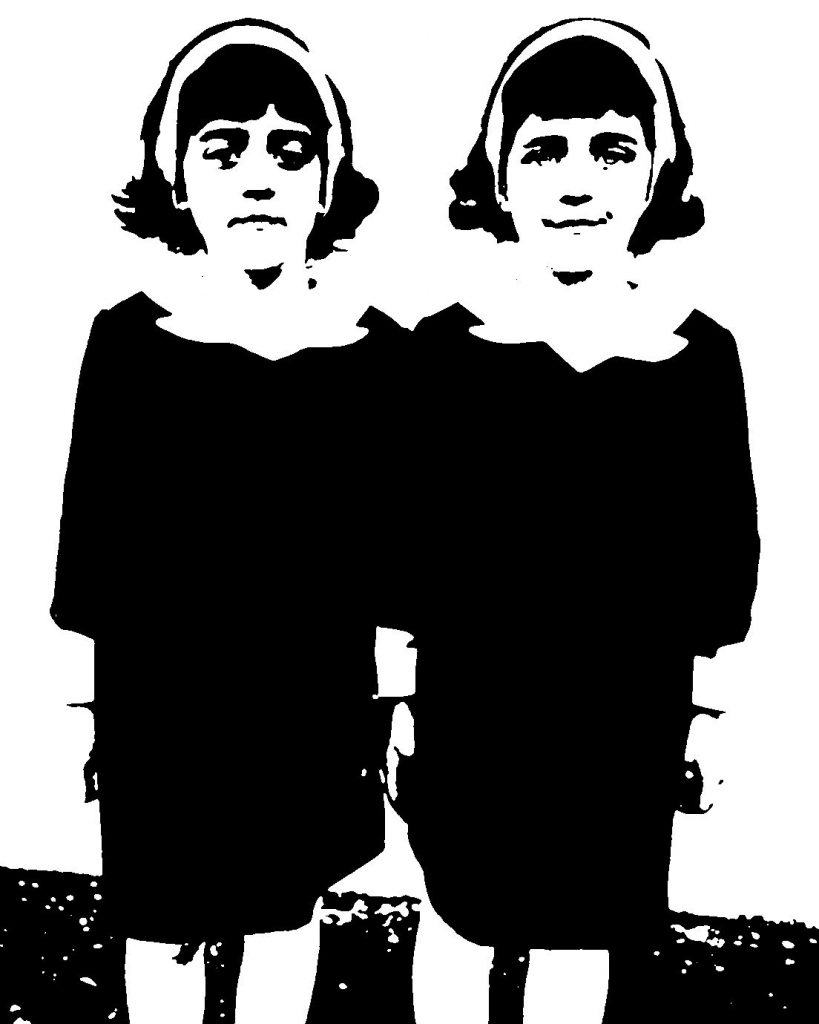Black and white stencil of twin girls