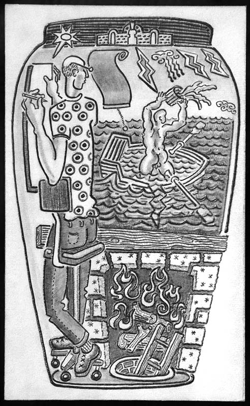 drawing of an artist and man with sinking boat
