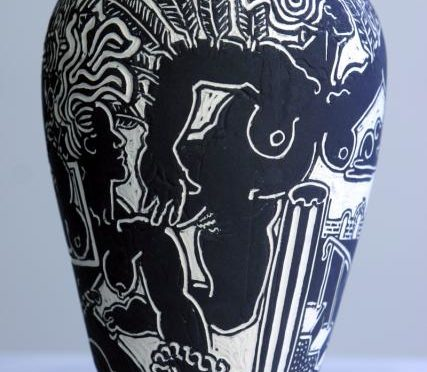 vase with winged women