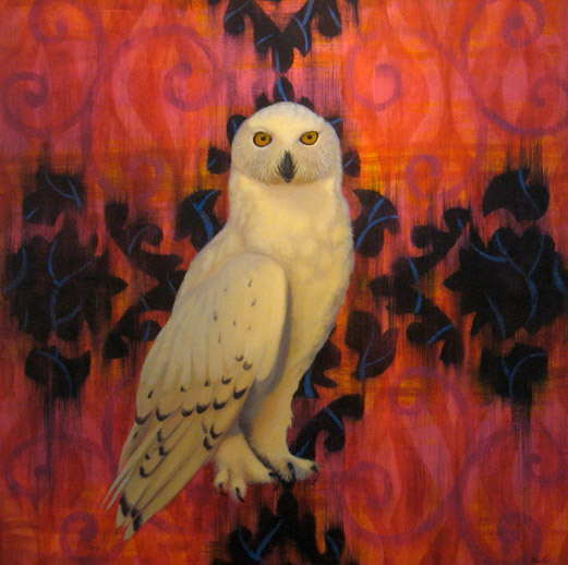 painting of snowy owl