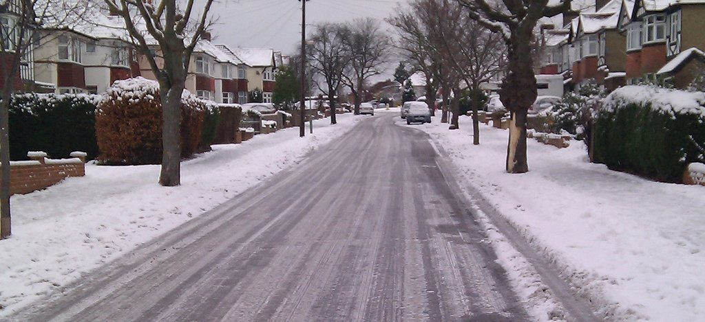 snowy neigborhood road
