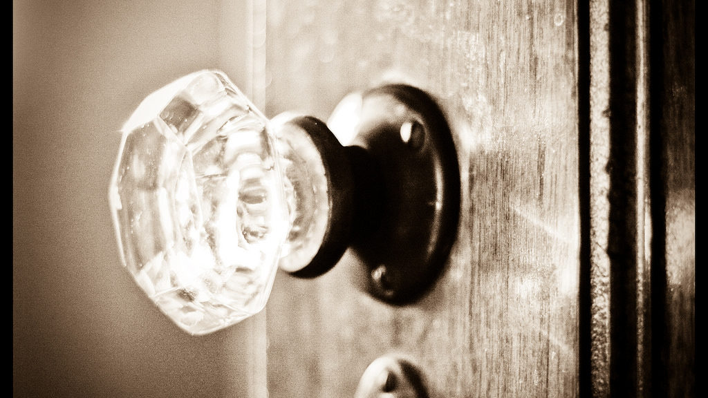 Doorknob hit by light