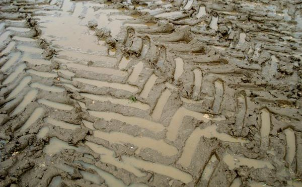 tractor tracks crisscrossed in mud