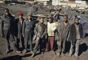 Group of young coal miners