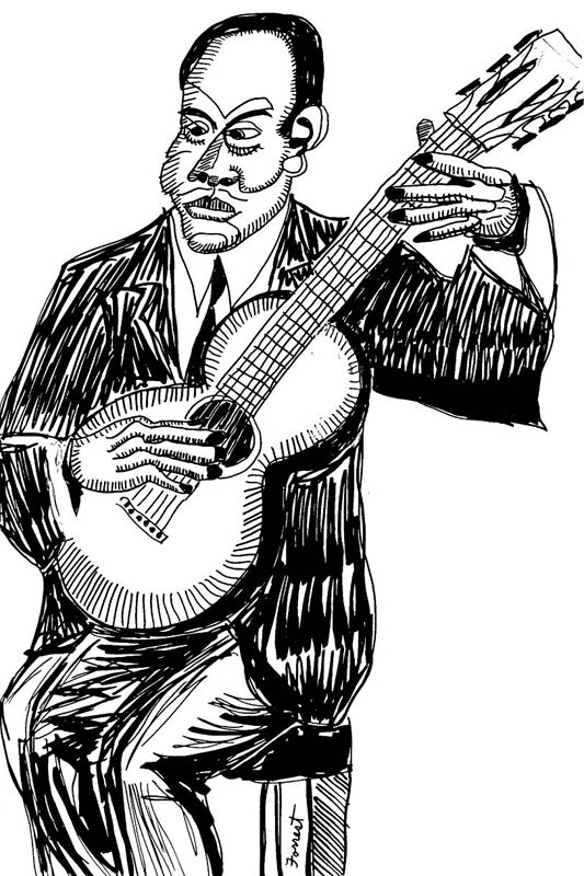 ink drawing of Charlie Jordan playing guitar