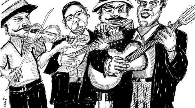 ink drawing of four musicians playing acoustic instruments