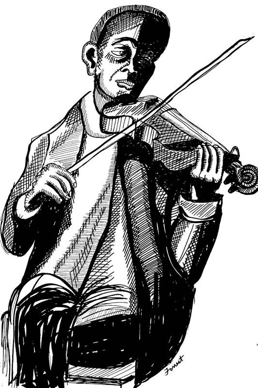 ink drawing of seated man playing fiddle