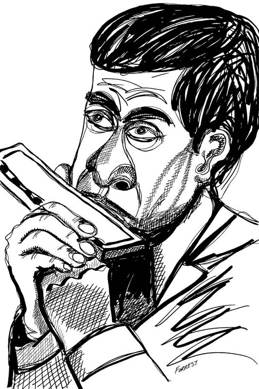 ink drawing of man playing harmonica
