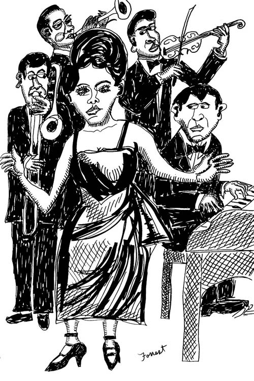 ink drawing of female singer with four jazz band musicians