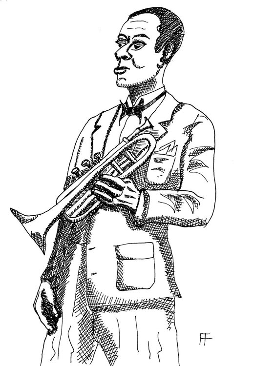 ink drawing of man with a trumpet