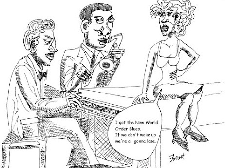ink drawing of woman sitting on piano with two musicians