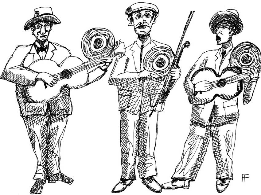 ink drawing of three musicians each holding a vinyl record