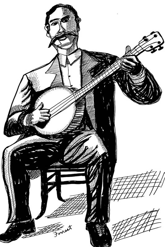 ink drawing of Polk Miller playing banjo