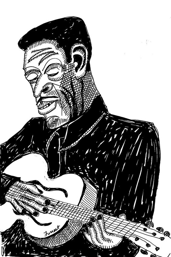 ink drawing of Son House playing acoustic guitar