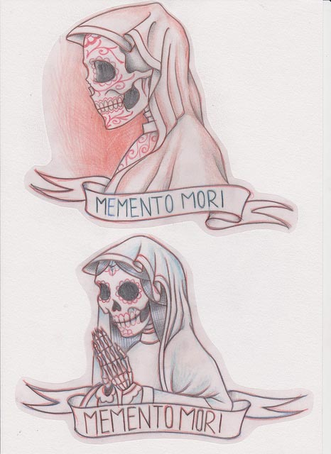 Drawings of Day of the Dead type skeletons